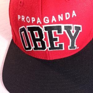 "Obey Ballcap Red Black ""Propaganda"" OSFA"